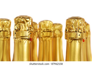 Champagne bottles isolated on white background