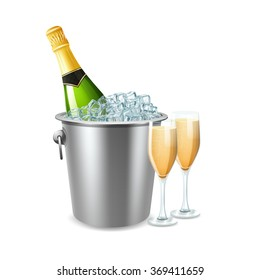 Champagne In Bucket Illustration