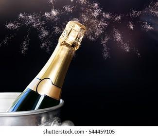 champagne in bucket - New Year celebration