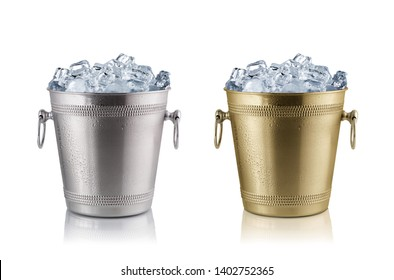 Champagne buckets full with ice. Isolated on white