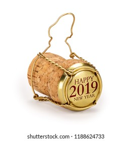 Champagne cork isolated, 2019 on golden cap, includes clipping path