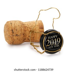 Champagne cork isolated, 2019 on black cap, includes clipping path