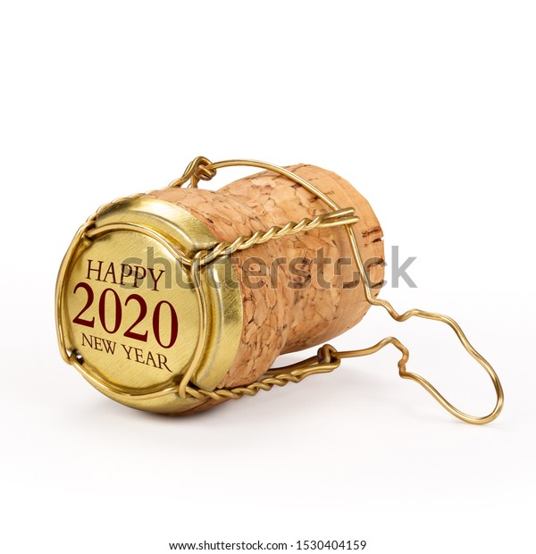 Champagne cork isolated, 2020 on golden cap, includes clipping path.