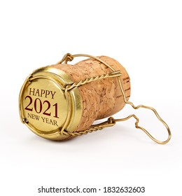 Champagne cork isolated, 2021 on golden cap, includes clipping path.