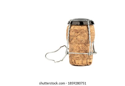 Champagne cork with muselet isolated on white background. Copy space.