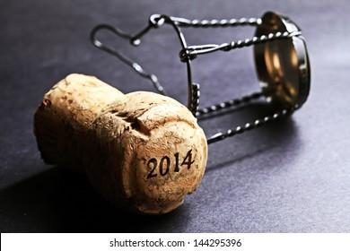Champagne cork new year 2014. Macro image.