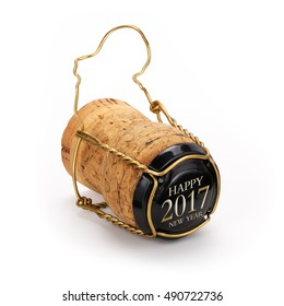 Champagne cork opened last year, contains clipping path