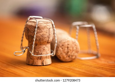 Champagne cork with silver basket