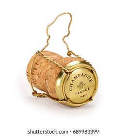 Champagne cork with text on cap, includes clipping path
