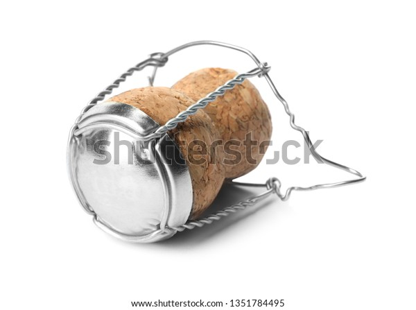 Champagne cork with wire cage isolated on white