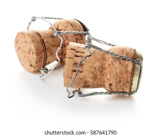Champagne corks on white background