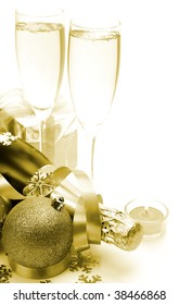 Champagne and decorative spheres
