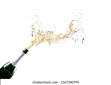 Champagne Explosion isoalted on white background.