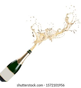 Champagne explosion isolated on white background.