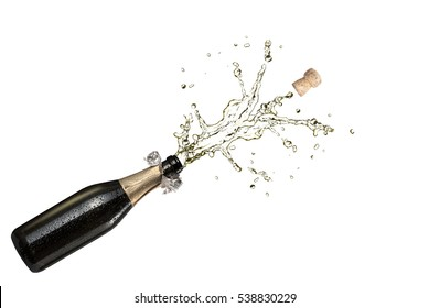 Champagne Explosion isolated on white background