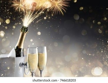 Champagne And Fireworks For Sparkling Celebration