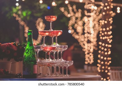 Champagne glass and the area is prepared in celebration.
