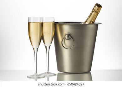 Champagne glass and ice bucket during the holidays and New Years eve