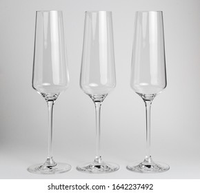 Champagne glass isolated, white background in studio, elegant glass