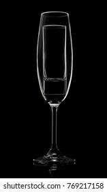 Champagne glass on black background n studio