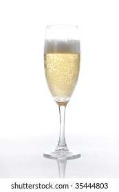 Champagne glass on white ground