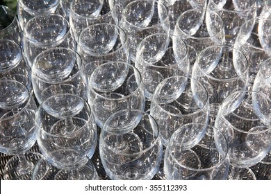 champagne glass pattern transparent empty glass goblets for wine,background Abstract