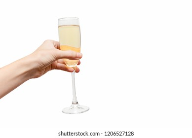 Champagne glasses Femal hand holding. Holliday Concept. White background, isolated, close up