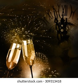 Champagne glasses with fireworks and New Year clock