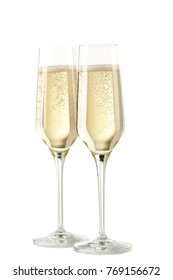 Champagne glasses isolated on white background