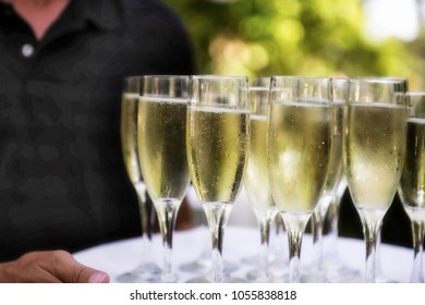 Champagne Glasses on Tray
