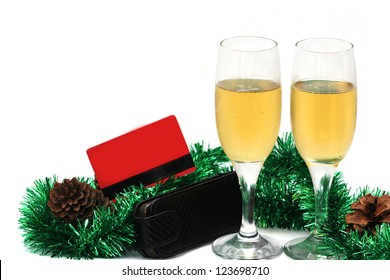 champagne glasses with a plastic card for the new year