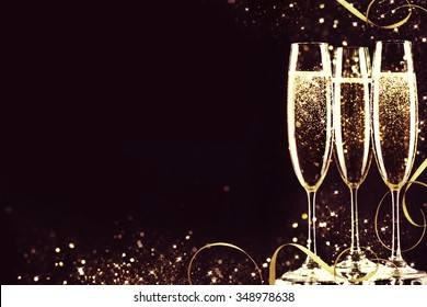 Champagne glasses ready to bring in the New Year.