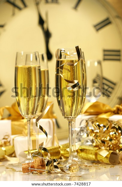 Champagne glasses ready to bring in the New Year