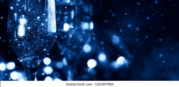 Champagne with holiday light. Happy New Year 2019