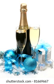Champagne and New Year's ornaments