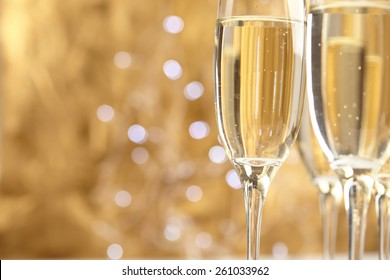 Champagne on gold background