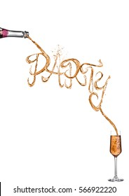 Champagne party splash font pouring  from bottle to glass on white background