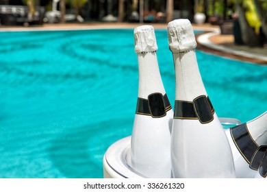 champagne at the pool