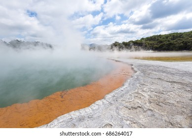 Champagne pool in Wai-O-Tapu in North Island of New Zealand