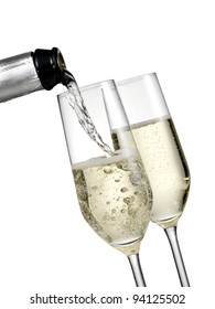 Champagne pour with two glasses