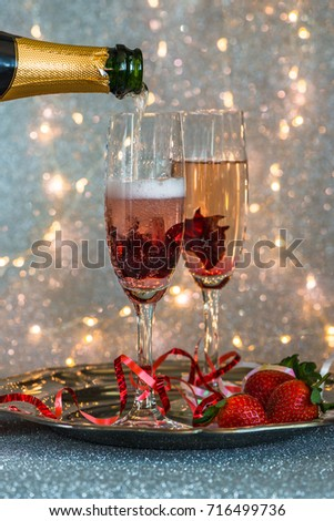 Champagne Poured Into Glass Hibiscus Flower Stock Photo Edit Now