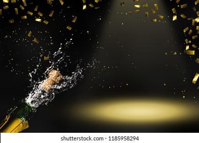 champagne in raining gold confetti