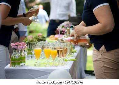 champagne reception, wedding buffet