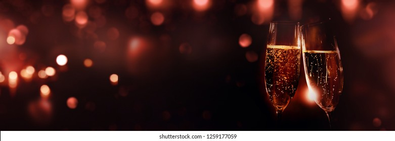 Champagne with red bokeh for a valentine background