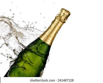 Champagne splash, close up