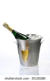 Champagne toast composition on bright background