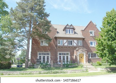 Champaign, IL - June 27, 2019: The Sigma Phi Delta Fraternity house on the campus of the University of Illinois in Chapmpaign-Urbana.