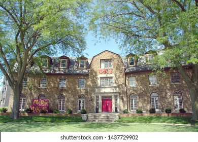 Champaign, IL - June 27, 2019: The Phi Kappa Tau Fraternity house on the campus of the University of Illinois in Chapmpaign-Urbana.
