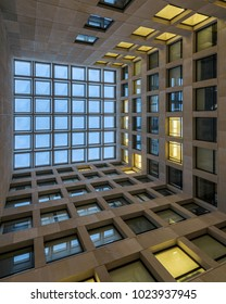 CHAMPAIGN, ILLINOIS, USA - FEBRUARY 8: Abstract view of the Center Court atrium of the Psychology Building at the University of Illinois in Champaign, Illinois on February 8, 2018