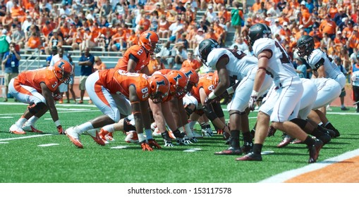 CHAMPAIGN,IL-AUGUST 31: Illinois and SIU line up at the SIU 4 yard line after the Illini defenses fumble recovery on Saturday, Aug 31, 2013.